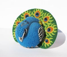 Peacock needle felted wool art toy