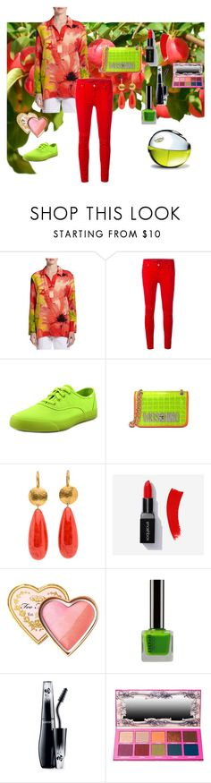 """""""Orchard Outing"""" by wendy-collins-1 on Polyvore featuring Natori, 7 For All Mankind, Keds, Too Faced Cosmetics, Lancôme and DKNY"""
