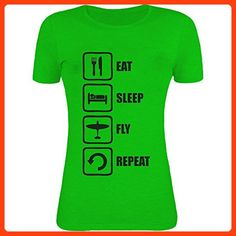 Eat Sleep Fly Repeat Black Graphic Womens T-Shirt XX-Large