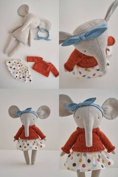 elephant items This elephant is handcreated right in our cozymoss world from own original pattern and ideas. This friend will develop kid's imagination and creativity in dress up or rol Hobby Horse, Sewing Toys, Diy For Girls, Baby Girls, Plush Animals, Fabric Dolls, Softies, Handmade Toys, Sewing Projects