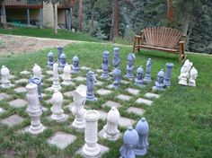 outdoor chess! How cool! my brother would never leave the backyard lol