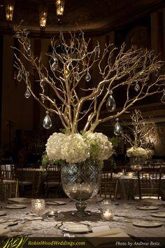 Wedding Centerpiece in Mercury Glass with White Hydrangea and Gold Manzanita Branches
