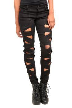 Royal Bones Black Peek-A-Boo Skinny Jeans - $39.50
