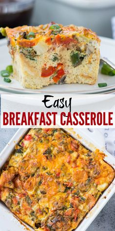 Easy breakfast casserole with bread loaded vegetables, egg, bread and topped wit… Easy breakfast casserole with bread loaded vegetables, egg, bread and topped with cheese. This Breakfast Casserole recipe can be made ahead and perfect to feed a big crowd. Vegetarian Breakfast Casserole, Egg Recipes For Breakfast, Brunch Recipes, Breakfast Ideas, Brunch Ideas, Keto Recipes, Breakfast Quiche, Bacon Breakfast, Quiche Recipes