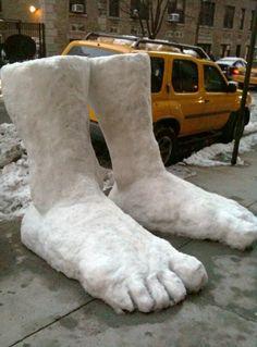 two feet of snow. Hardee har har.