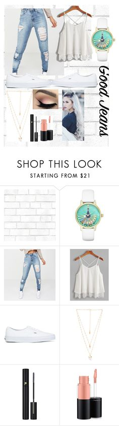 """Good Jeans"" by mini-lucifer ❤ liked on Polyvore featuring Tempaper, Kate Spade, Vans, Natalie B, Lancôme and MAC Cosmetics"