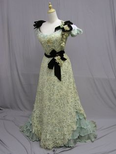 1900 Ball Gown Lace with Black Bows Trim