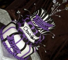 fondant cakes for girls birthday | Three tier purple, black, and white fondant birthday cake with zebra ...
