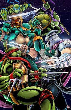 Turtles vs. Shredder by Musetap Art Studios. Artists: Wil Woods and Tyrine Carver Ninja Turtles Art, Teenage Ninja Turtles, Turtle Names, Ninja Turtle Tattoos, Nerd Geek, Tmnt Characters, Battle, Anime Comics, Fat