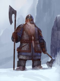 m Dwarf Fighter Hvy Armor Helm Axe Battle Axe Mountain road Fortress Winter Snow warrior by Mischeviouslittleelf on Fantasy Dwarf, Fantasy Rpg, Medieval Fantasy, Character Portraits, Fantasy Portraits, Fantasy Artwork, Character Concept, Character Art, Concept Art