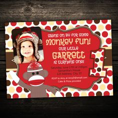 Cute Little Sock Monkey -  First Birthday Party Printable Photo Invitation  -- Any Color. $12.99, via Etsy.