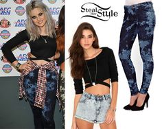 Perrie Edwards posed with her bandmates backstage at North East Live wearing a Missguided Chara Bandage Waist Crop Top ($21.71) and a pair of jeans similar to ASOS Warehouse Skinny Jean In Tie Dye ($30.55).