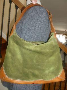 J.Crew Suede Leather Green Purse Satchel Hobo Brown Trim Zip Top Handbag #JCrew #Hobo