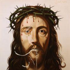 ICON #1 (JESUS CHRIST), 2014, oil on panel, 22x22cm. Painting by Sierk van Meeuwen