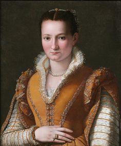 Bianca Cappello (1548-1587).  Daughter of Bartolomeo Cappello and Pellegrina Morosini. Second wife of Francesco I de Medici. Portrait by Alessandro Allori