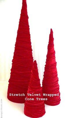 Velvet cone trees in white or silver!