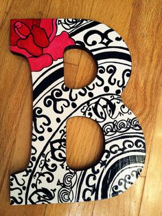 Black Red and White Letters by lnvanors on Etsy, $12.00
