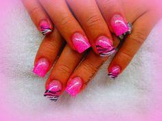 Pink and white zebra print nail art. Great design <3