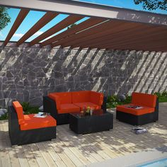 Camfora 5 Piece Outdoor Patio Sectional Set, Espresso Orange - Simple and serviceable, the Camfora is a great choice for any backyard. Classically styled furniture crafted out of all weather materials meant to last, this set will please year after year. Enjoy some quality time in the fresh air with the Camfora set. Set Includes: One - Camfora Outdoor Wicker Patio Coffee Table One - Camfora Outdoor Wicker Patio Left Arm Section One - Camfora Outdoor Wicker Patio Right Arm Section Two…