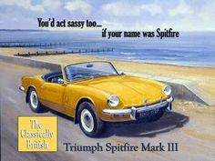 """Triumph Spitfire mark III Metal Sign: Automobiles and Cars Decor Wall Accent by OMSC. $19.50. Ships in Ploy-bag for complete protection. Rounded corners with holes for easy hanging. Eco-friendly process, hand-made in the USA. Glossy, full-color, enamalized imaged baked onto thick, 24-gauge steel. This sign measures 16"""" x 12"""" (400 mm x 300 mm). The """"Triumph Spitfire mark III Metal Sign"""" is hand-made in America. These sturdy metal signs will perfectly accent any kitchen, home,..."""
