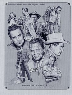 "Glenn Ford,illustration from the book ""Hombres de Hollywood"".Nacho Castro.Diábolo ediciones"