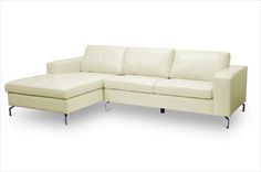 Baxton Studio Lazenby Cream Leather Modern Sectional Sofa | Affordable Modern Furniture in Chicago