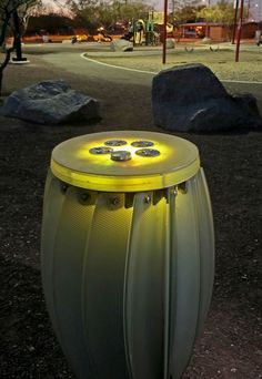 """The interactive sculpture """"Public Drums"""" is installed at Ochoa Park on Tucson's south side."""