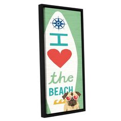 "Zipcode Design 'Beach Bums Pug Surf Board' Framed Graphic Art Print on Canvas Size: 24"" H x 8"" W x 2"" D"