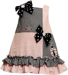 ShopStyle: Bonnie Jean Girls 2-6X Colorblock Seersucker Dress with Grograin Bows and Ladybug Appliques