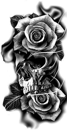 Skull Rose Tattoos, Rose Tattoos For Men, Tattoos For Kids, Hand Tattoos, Skull Tattoo Design, Tattoo Design Drawings, Tattoo Sleeve Designs, Sleeve Tattoos, Jester Tattoo