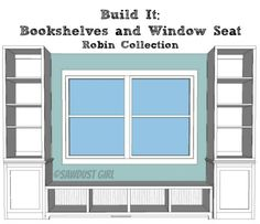 Free plans for the Robin Collection Bookshelf from Sawdust Girl. Project hack - buy bookshelves and recreate this idea, with some backing to secure the window seat. Window Benches, Window Seats, Window Seat Storage Bench, Room Window, Bench Plans, My New Room, Built Ins, Home Projects, Woodworking Plans