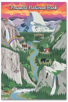 Art Print: Yosemite National Park, California - Retro Views by Lantern Press : California National Parks, Yosemite National Park, Artist Canvas, Canvas Art, Yosemite Mountains, Party Vintage, Wisconsin, Michigan, National Park Posters