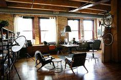 Loft de estilo industrial y vintage con ideas para dividir ambientes 9