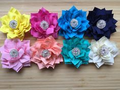 Lotus Flower Rhinestone Center Hair Clips You Choose One Color Ribbon Lined Alligator Clip Flower Hair Fascinator - pinned by pin4etsy.com