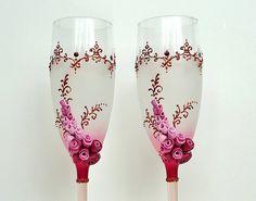 Favor de Burdeos boda Champagne vidrios flautas tostado