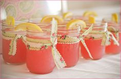 pink lemonade in mason jars w/ vintage fabric!