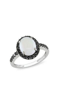 Opal & Black Diamond Ring