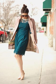Coat: J.Crew {last year} | Dress: Milly {similar style here,+here} | Shoes: J.Crew | Clutch: Hobo | Jewelery: J.Crew, F21 | Sunnies: Urban Outfitters | Lips: Liner: Currant, Lipstick: Ruby Woo {both by MAC}