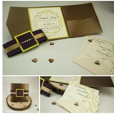Here's your daily dose of design! An Autumn inspired wedding invite, created using our beautiful bronze pocketfold, purple heart belly band & june bud & purple heart squares! Pocketfold Invitations, Wedding Invitations, Autumn Inspiration, Wedding Inspiration, Belly Bands, Design Your Own, Bud, Squares, Invite