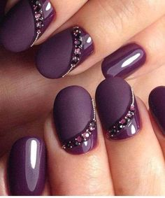 NagelDesign Elegant ( Winter Nail Art Designs a. ) You are in the right place about wedding nails for bride navy Here we offer you the mos Purple Nail Art, Purple Nail Designs, Blue Nail, Acrylic Nail Designs, Nail Art Designs, Acrylic Nails, Nails Design, Purple Glitter, Gel Nail