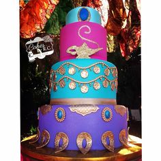 Turquoise, Purple & Pink with Gold Accents Jasmine Cake