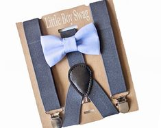 Dusty Blue Wedding Bow Tie and Suspenders. A great look for boys to men by LittleBoySwag