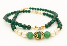 Green Jade Necklace Aventurine Jewelry White Pearls by MorMalas