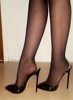 High Heels Stiletto Mules in Schwarz Lack mit 13 cm absatz Gr.40 #highheelsstockings