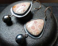 Fine Jewelry Dangle Earrings In Oxidized Sterling Silver With Fossil Coral And 14kt Gold Ear Wires