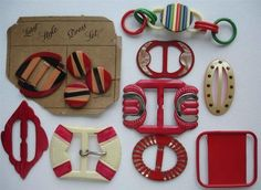 Fabulous Vintage Celluloid Buckles and Buttons