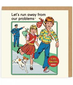 Let's Run Away From Our Problems Retro Card Ohh Deer, Lets Run Away, Retro Illustration, Illustrations, Arte Horror, Retro Aesthetic, Retro Art, Dark Art, Cute Wallpapers