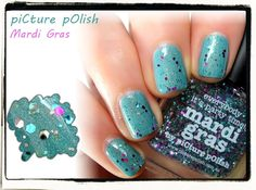 piCture pOlish Mardi Gras swatched by Naildarella!  Layered over a Manglaze shade!