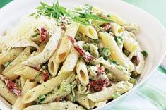 Creamy chicken pesto pasta.   *** I have made this one - easy and light tasting. Added capsicum. Thinking of adding peas next time. Semi-dried tomatoes were a good kick.