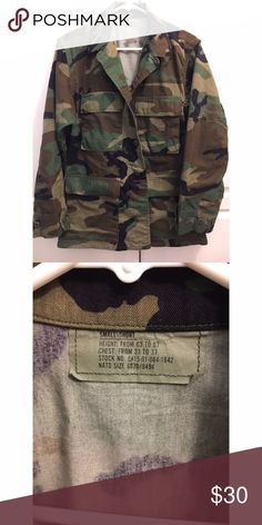 Authentic Camouflage Jacket Purchased from another posher who bought this at an army surplus store. It's new, I only used it once and decided i wanted it to be even more oversized. I usually wear M/L and these run big. These fit me comfortably with lots of room for layering but I wanted it to be morrre oversized 🙄 haha. Military camo jacket utility. Jackets & Coats Utility Jackets